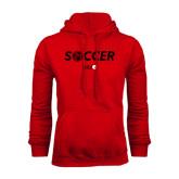 Red Fleece Hoodie-Soccer Halftone Ball