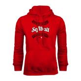 Red Fleece Hoodie-Softball Seams