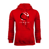 Red Fleece Hoodie-Abstract Tennis Ball