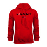 Red Fleece Hoodie-Volleyball w/ Ball