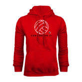 Red Fleece Hoodie-Volleyball Can You Dig It