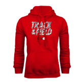 Red Fleece Hoodie-Track and Field Polygon Texture