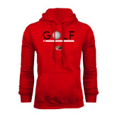 Red Fleece Hoodie-Golf Star and Stripes