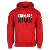 Red Fleece Hoodie-Cougars Roar
