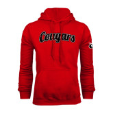 Red Fleece Hoodie-Distressed Scripted Cougars