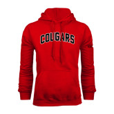 Red Fleece Hoodie-Arched Cougars