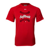 Under Armour Red Tech Tee-Softball Seams