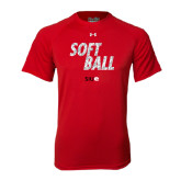 Under Armour Red Tech Tee-Softball Polygon Text