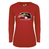 Ladies Syntrel Performance Red Longsleeve Shirt-SIUE Cougars Official Logo