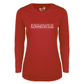 Ladies Syntrel Performance Red Longsleeve Shirt-Institutional Mark