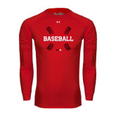 Under Armour Red Long Sleeve Tech Tee-Baseball Seams
