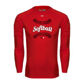 Under Armour Red Long Sleeve Tech Tee-Softball Seams