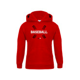 Youth Red Fleece Hoodie-Baseball Seams