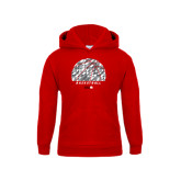 Youth Red Fleece Hoodie-Basketball Texture Ball