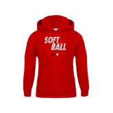 Youth Red Fleece Hood-Softball Polygon Text