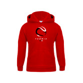 Youth Red Fleece Hoodie-Abstract Tennis Ball