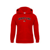 Youth Red Fleece Hoodie-Wrestling Arched