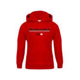 Youth Red Fleece Hoodie-Track and Field Lines
