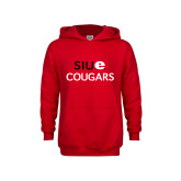 Youth Red Fleece Hoodie-SIUE Cougars Stacked
