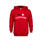 Youth Red Fleece Hoodie-SIUE Arched Cougars