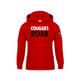 Youth Red Fleece Hoodie-Cougars Roar