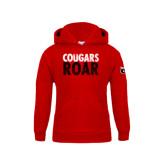 Youth Red Fleece Hood-Cougars Roar