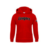 Youth Red Fleece Hoodie-Distressed Scripted Cougars