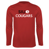 Performance Red Longsleeve Shirt-SIUE Cougars Stacked