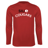 Performance Red Longsleeve Shirt-SIUE Arched Cougars