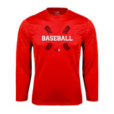 Performance Red Longsleeve Shirt-Baseball Seams