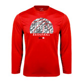Performance Red Longsleeve Shirt-Basketball Texture Ball