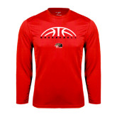 Performance Red Longsleeve Shirt-Basketball Half Ball