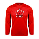 Performance Red Longsleeve Shirt-Geometric Soccer Ball