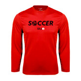 Performance Red Longsleeve Shirt-Soccer Halftone Ball