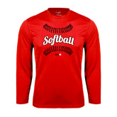 Performance Red Longsleeve Shirt-Softball Seams