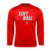 Performance Red Longsleeve Shirt-Softball Polygon Text
