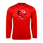 Performance Red Longsleeve Shirt-Abstract Tennis Ball