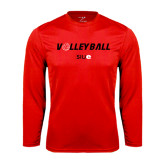 Performance Red Longsleeve Shirt-Volleyball w/ Ball