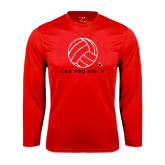 Performance Red Longsleeve Shirt-Volleyball Can You Dig It