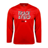 Performance Red Longsleeve Shirt-Track and Field Polygon Texture