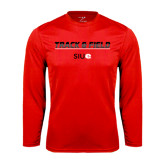 Performance Red Longsleeve Shirt-Track and Field Lines