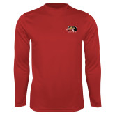 Performance Red Longsleeve Shirt-SIUE Cougars Official Logo