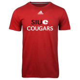 Adidas Climalite Red Ultimate Performance Tee-SIUE Cougars Stacked