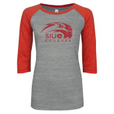 ENZA Ladies Athletic Heather/Red Vintage Triblend Baseball Tee-SIUE Cougars Official Logo