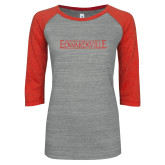 ENZA Ladies Athletic Heather/Red Vintage Baseball Tee-Institutional Mark