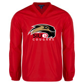 V Neck Red Raglan Windshirt-SIUE Cougars Official Logo