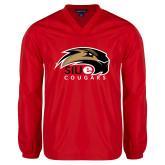 V Neck Red Raglan Windshirt-SIUE Cougars Official Logo