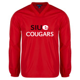 V Neck Red Raglan Windshirt-SIUE Cougars Stacked