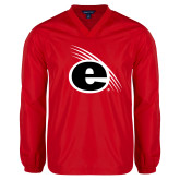 V Neck Red Raglan Windshirt-e Slash Mark