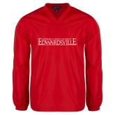 V Neck Red Raglan Windshirt-Institutional Mark